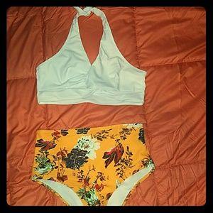 High waisted, halter top bikini